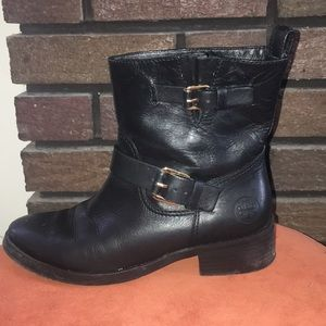 Tory Burch black leather booties w/ gold hardware